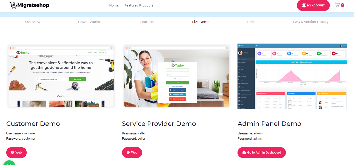 on demand service marketplace script live demo