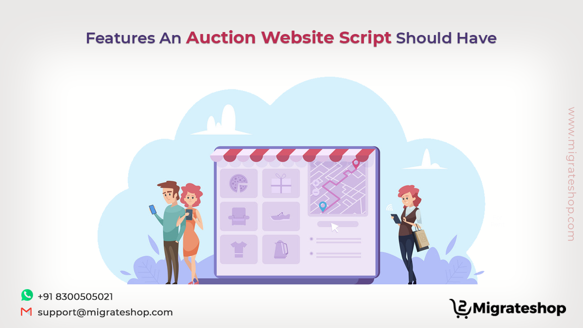 Auction website script features