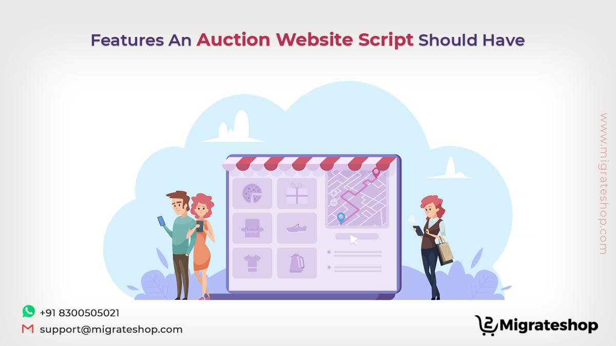 Auction website script features