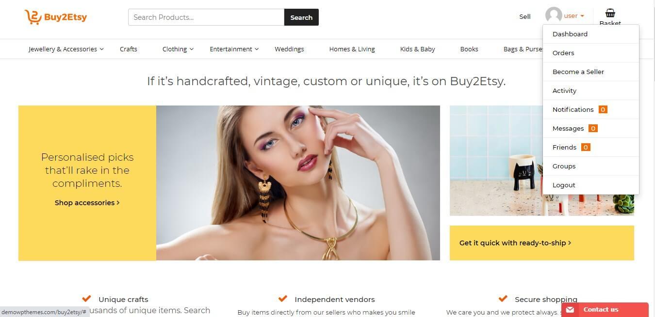 etsy-clone-website-user-dashboard